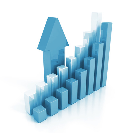 color chart: business chart graph and rising up arrow. finance success concept 3d render illustration Stock Photo