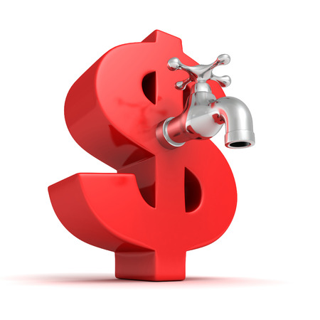 big red dollar symbol with metallic water tap faucet Stock Photo