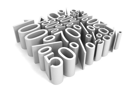 all percent discount sale price numbers cube shape. 3d render concept illustration