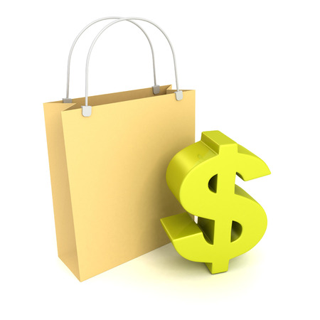 Shopping bag with green dollarcurrency symbol. business sale concept 3d render illustration illustration