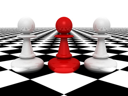 leadership concept red pawn forward white pawns photo