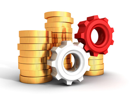Business finance concept golden coins and gears photo