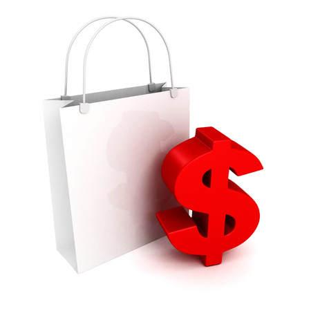 one us dollar coin: Shopping bag with red dollar currency symbol