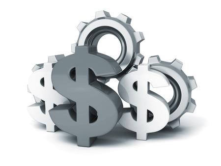 dollar symbol and cogwheel gears on white background photo