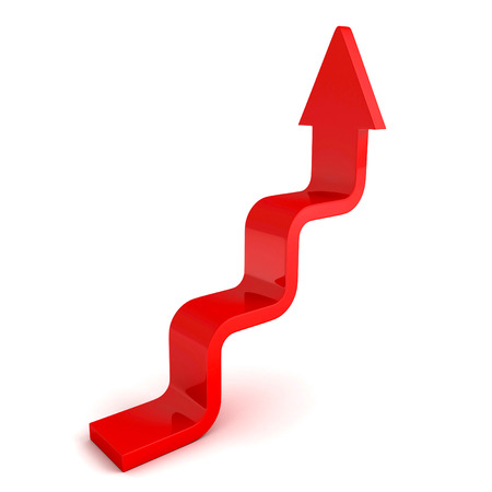 stairs arrow going upward grow on white background