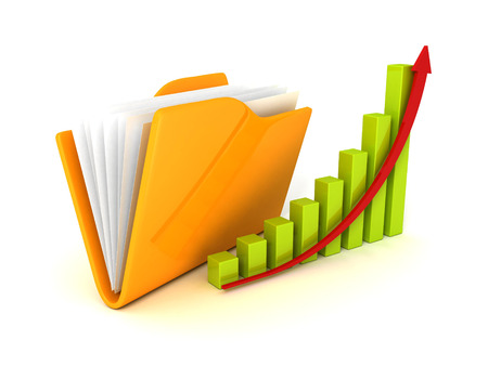 business solutions: Document paper folder with growth bar graph. business success concept 3d render illustration
