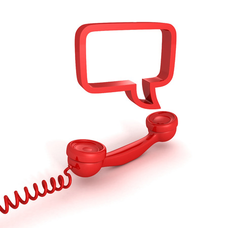 answering phone: red telephone receiver and speech bubble on white background Stock Photo