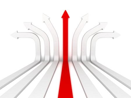 single red arrow leader right direction forward. 3d render illustration 스톡 콘텐츠