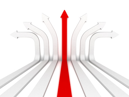 single red arrow leader right direction forward. 3d render illustration Stock Photo