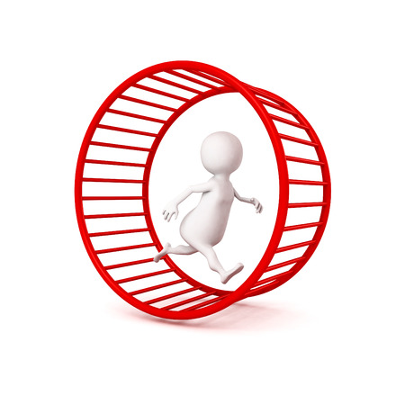 3d white businessman runs in hamster wheel. business time working concept 3d render illustration