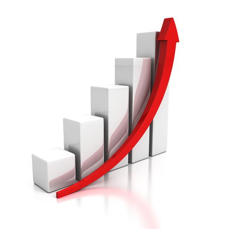 growing business graph with rising arrow. 3d render illustration 스톡 콘텐츠