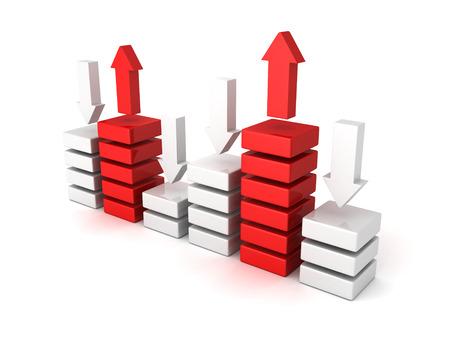 bisiness bar chert diagram with up down arrows. 3d render illustration illustration