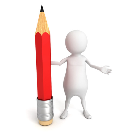 white 3d man with red pencil. 3d render illustration illustration