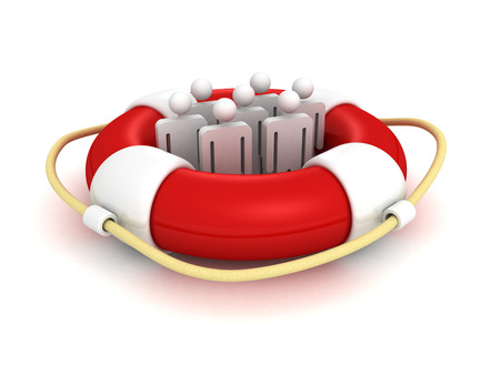 floatation: white 3d team people in lifebuoy. business concept 3d render illustration Stock Photo