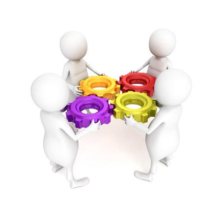 기어 mechanismconnection 차원 사람들이 팀. 비즈니스 개념 그림 3D 렌더링 스톡 콘텐츠