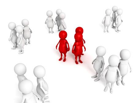 3d 빨간색 인간의 사람들이 비즈니스 최고의 팀. 3 차원 렌더링 그림 개념