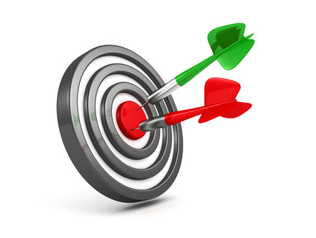 Successful achievement of darts goal. red and green arrows in bull eye. success concept 3d render illustration