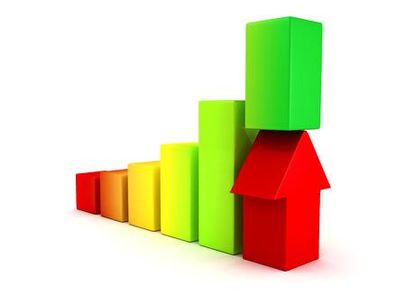 achivement: 3D Bar Chart and Business Growth With Rising Arrow  Success Achivement Concept 3d Render Illustration