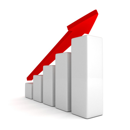 average: red arrow and success bar graph growing up  3d render illustration