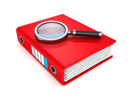 Red paper document folder with magnifier  3d render illustration