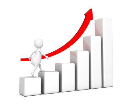 3d businessman walk up on rising graph chart. success concept 3d render illustration illustration