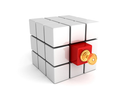 leadership key: Different red cube with lock key. leadership concept 3d render illustration