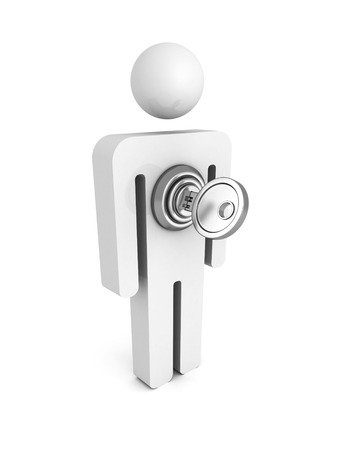 pent: 3d man icon with lock key. concept 3d render illustration