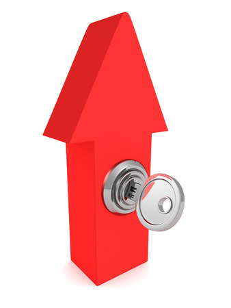 pent: red arrow pointing up with key lock. 3d render illustration