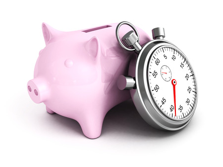 bank protection: Piggy Bank with Stopwatch on a white background. 3D Render Illustration