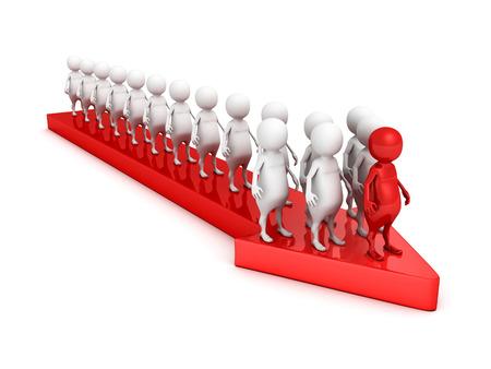 3d leader person of team on arrow forward. teamwork success concept 3d render illustration