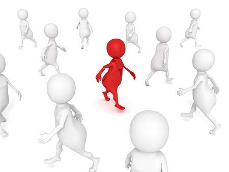 different 3d man walks in others crowd. 3d render illustration