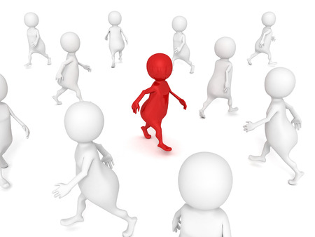 different 3d man walks in others crowd. 3d render illustration