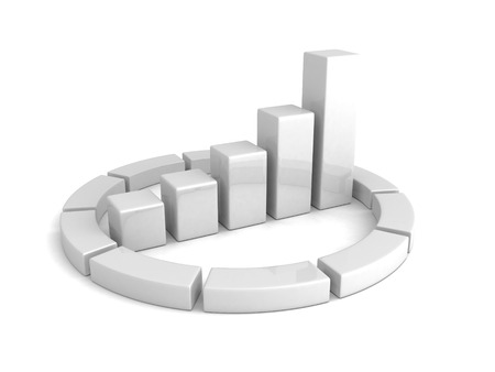 growing up: white bar chart graph growing up. business 3d render illustration