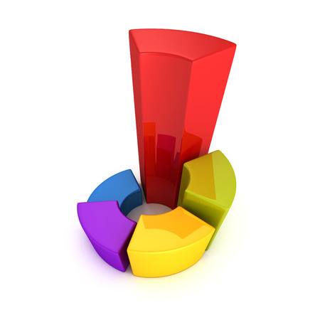 round pie chart profit diagram. business financial concept 3d render illustration illustration