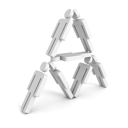 3D men pyramid isolated on white background. 3d render illustration illustration