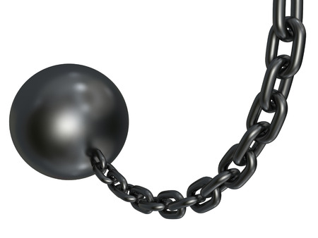 heavy metallic wrecking chain sphere isolated on white background. 3d render illustration illustration
