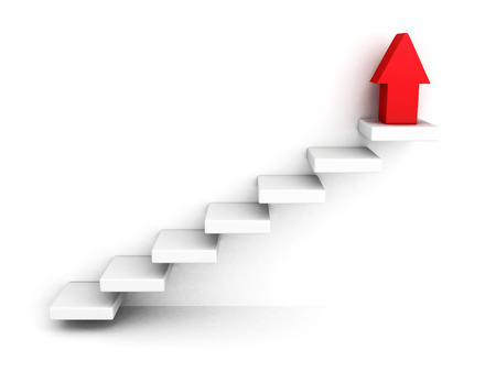 red growing up success arrow and upstairs steps ladder. 3d render illustration
