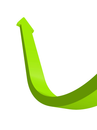 incremental: growing rise up green arrow isolated on white background 3d render illustration