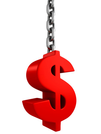 red dollar currency symbol on metal chain. 3d render illustration