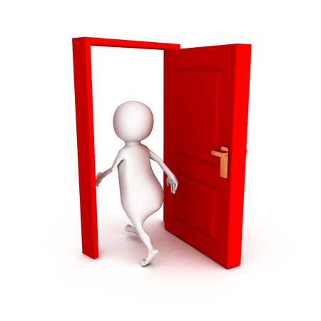 walk through: 3d man make right choice walk through red door Stock Photo