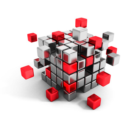 metallic and red cube blocks structure. Business teamwork communication concept 3d render illustration Zdjęcie Seryjne