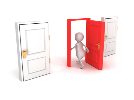 guest house: 3d man make right choice walk through red door Stock Photo