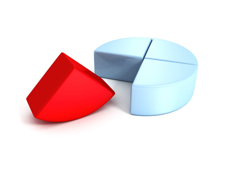 business pie chart diagram with one red part. concept 3d render illustration illustration