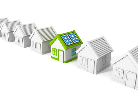 house with solar battery panels on the roof. 3d render illustration illustration