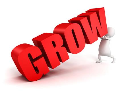 push up: 3d man push up concept GROW red text. business success 3d render illustration