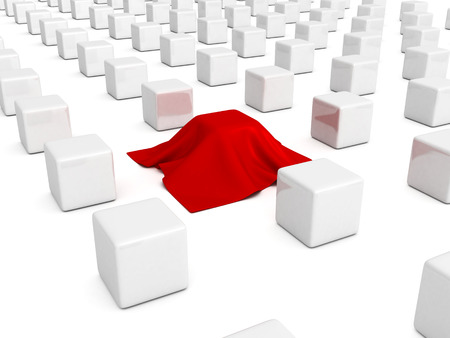 different box covered with red cloth. 3d render illustration illustration
