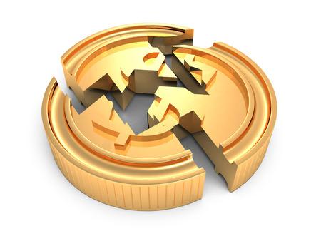 흰색 배경에 깨진 된 황금 달러 동전입니다. 3d 렌더링 그림 스톡 콘텐츠