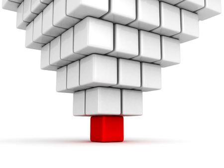 different individual leader red cube of pyramid group. business concept 3d render illustration