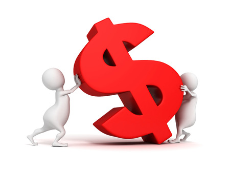 3d people grow up red dollar currency symbol. business concept 3d render illustration