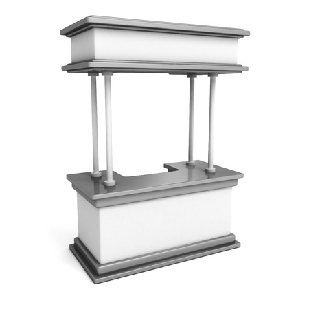Trade promotion stand on a white background. 3d render illustration